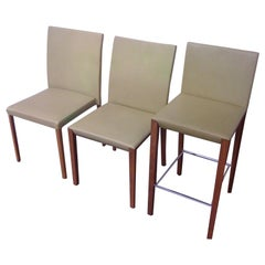 Set of Andoo Chairs and Counter Stools in Leather with Walnut Legs