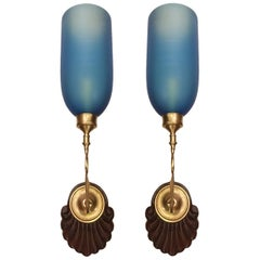 Set of Anglo Indian Blue Glass Sconces, Sold in Pairs