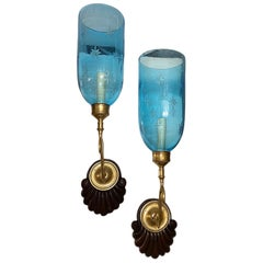 Set of Anglo-Indian Blue Glass Sconces, Sold Per Pair