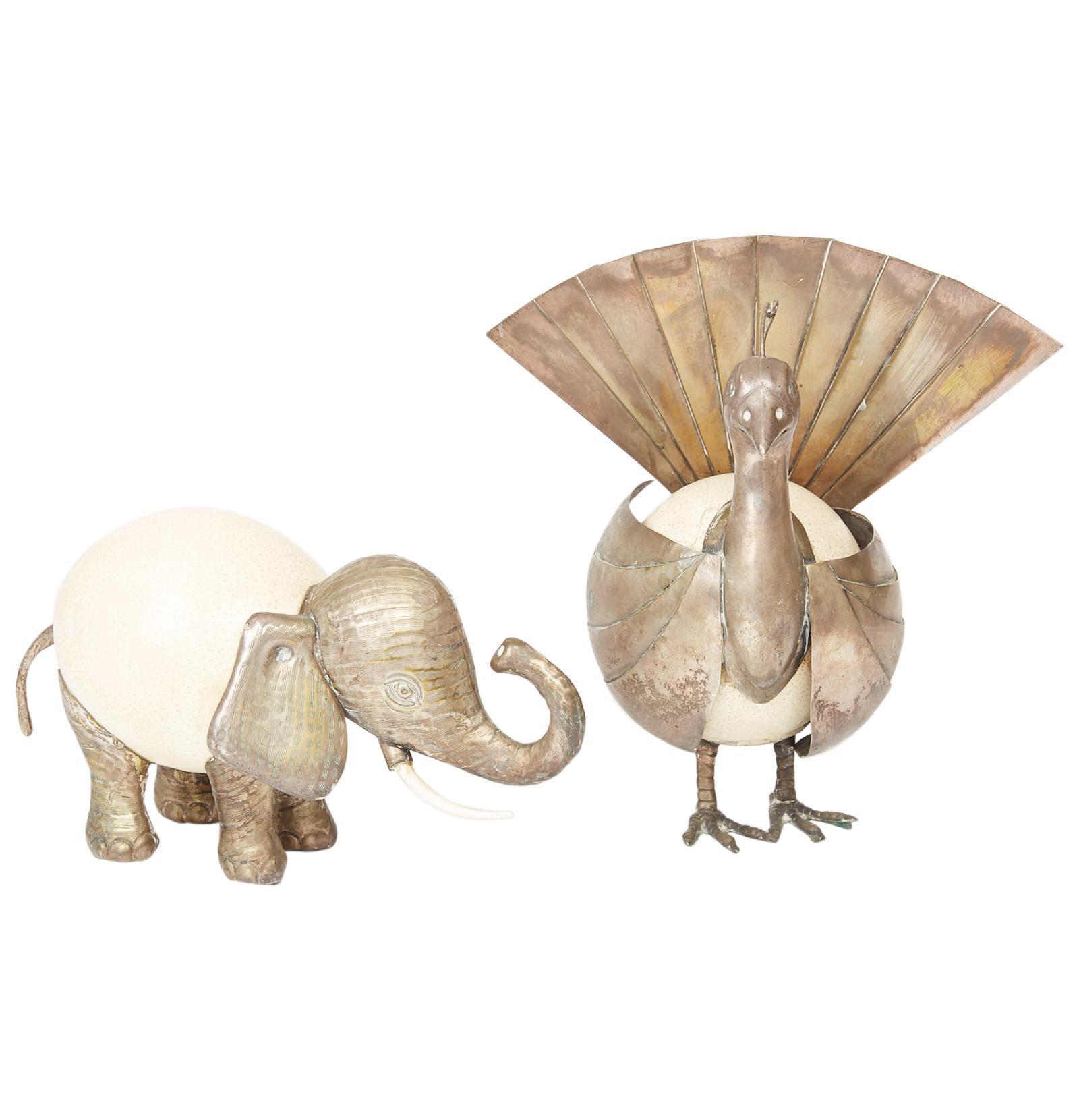 Anthony Redmile Ostrich Egg and Silver Elephant and Peacock Sculptures