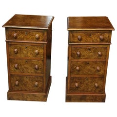 Set of Antique Burr Walnut Bedside Tables