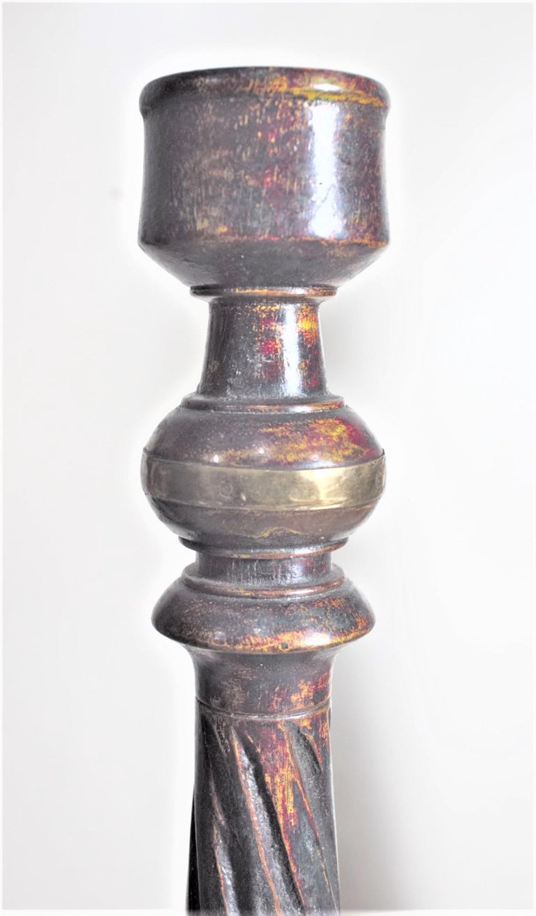 20th Century Set of Antique Carved and Painted Wood Candle or 'Cricket' Sticks with Brass For Sale