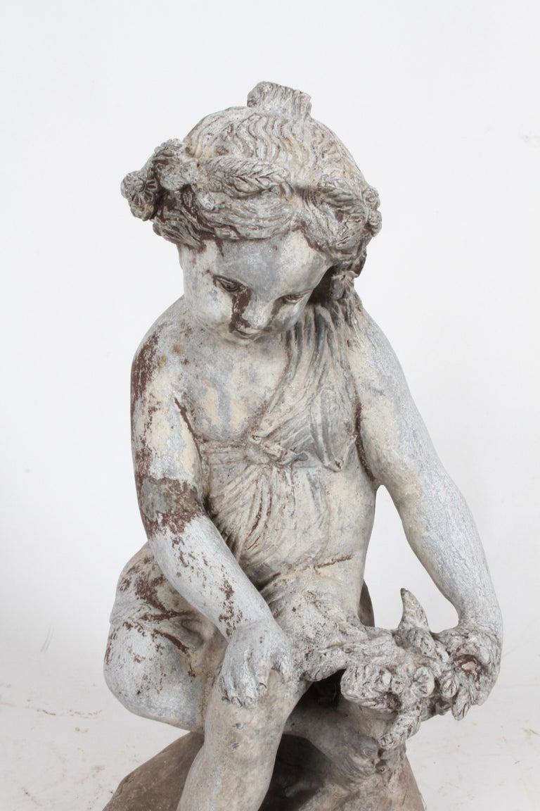 Set of Antique English Garden Four Seasons Lead Figures For Sale 5