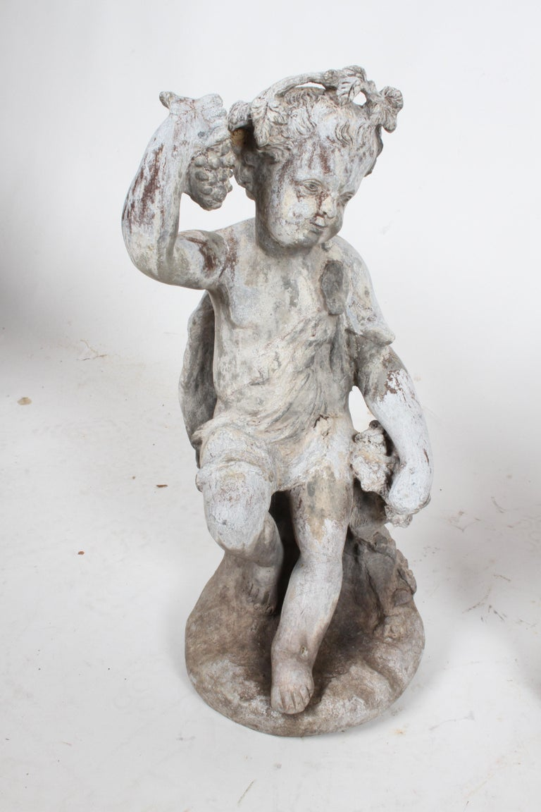 Set of Antique English Garden Four Seasons Lead Figures For Sale 15