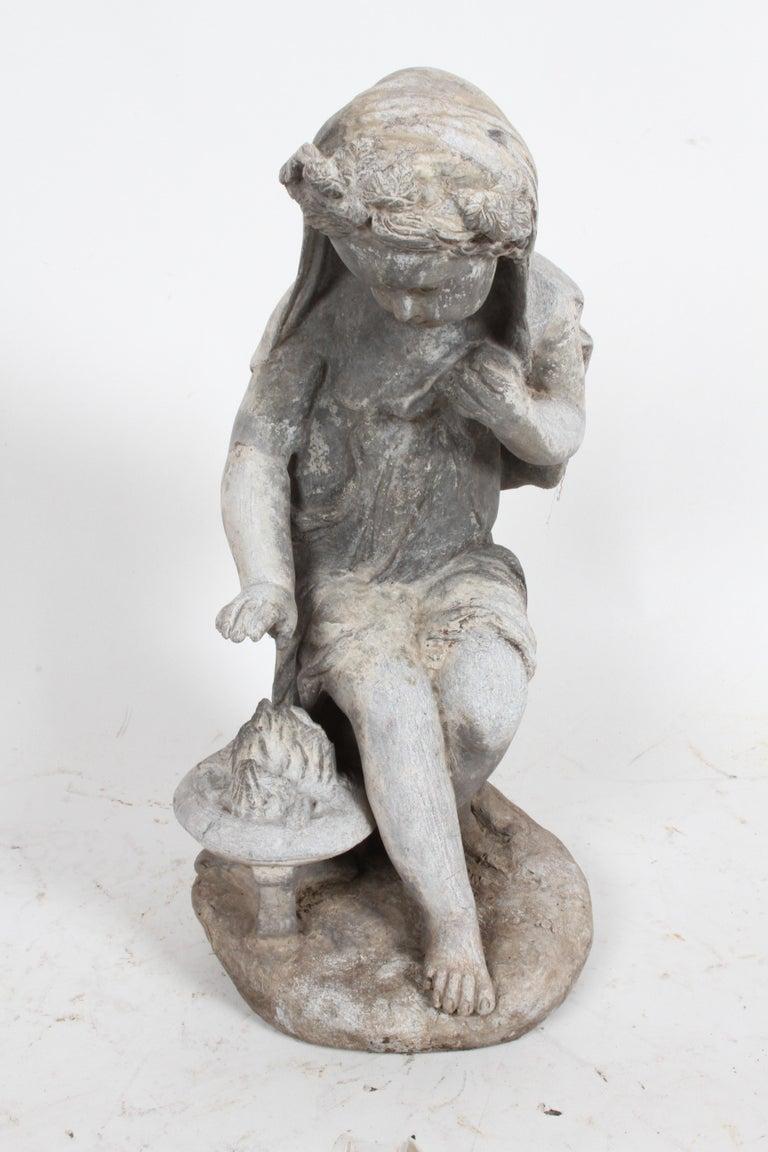 Set of Antique English Garden Four Seasons Lead Figures For Sale 1