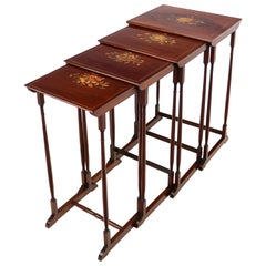 Set of Antique English Victorian Mahogany and Marquetry Inlaid Quartetto Tables