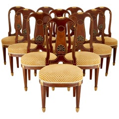 Set of Antique French Dining Chairs by Mercier Frères
