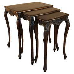 Set of Antique French Louis XV Hand-Carved Walnut Nesting Tables