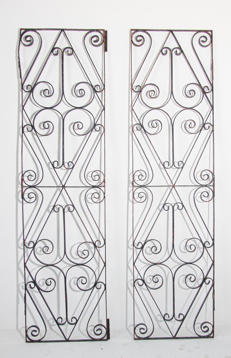 Set of Antique French Wrought Iron Garden Doors For Sale 4