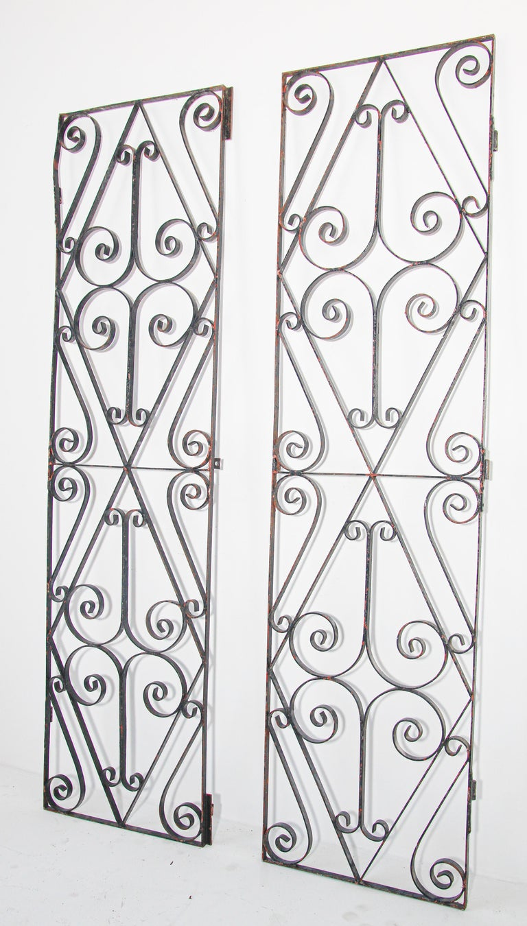 Set of Antique French Wrought Iron Garden Doors For Sale 5