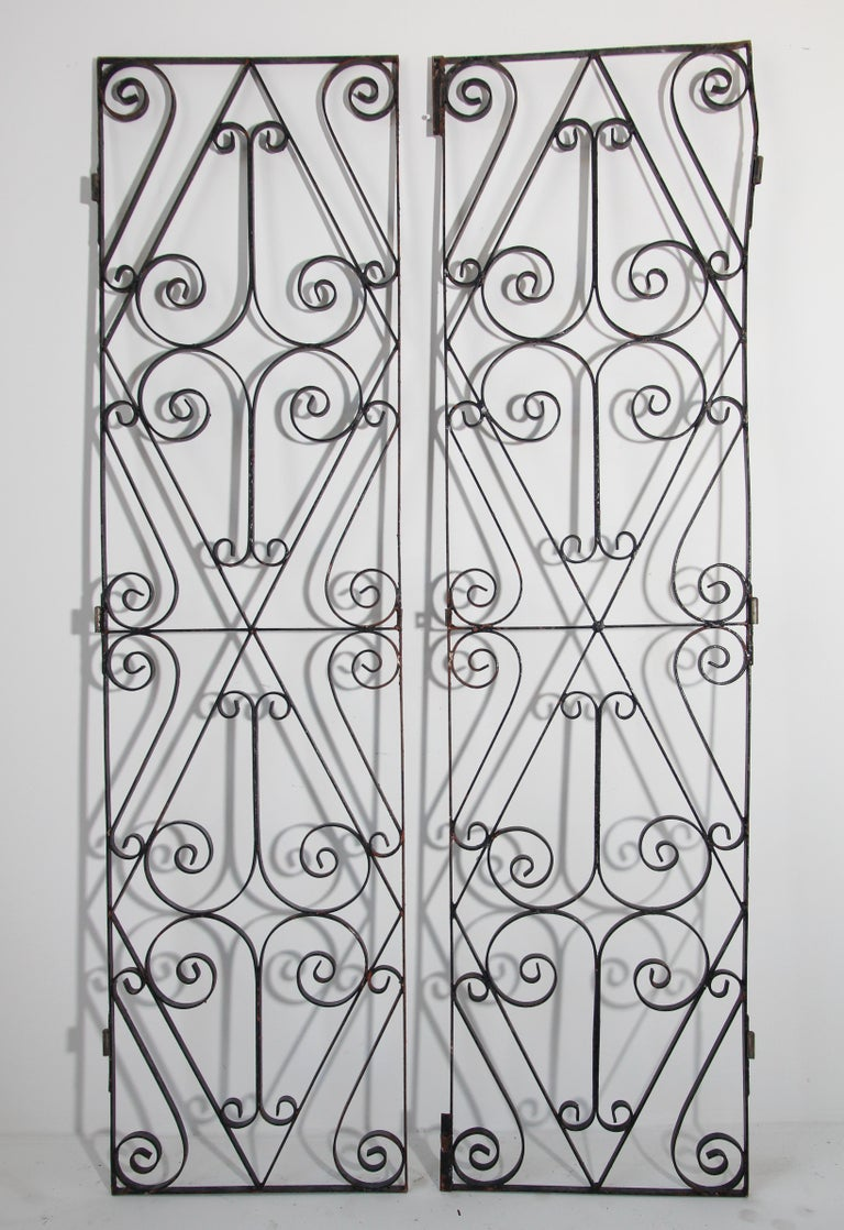 Set of Antique French Wrought Iron Garden Doors For Sale 7