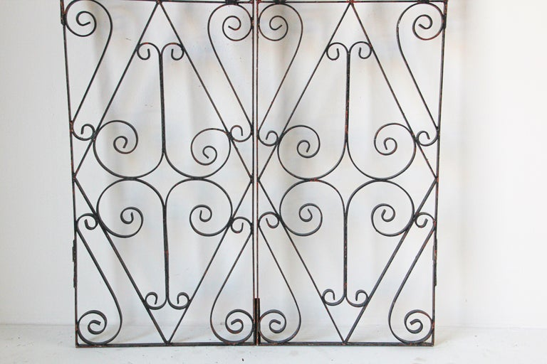 Antique French wrought iron garden gate, double doors.