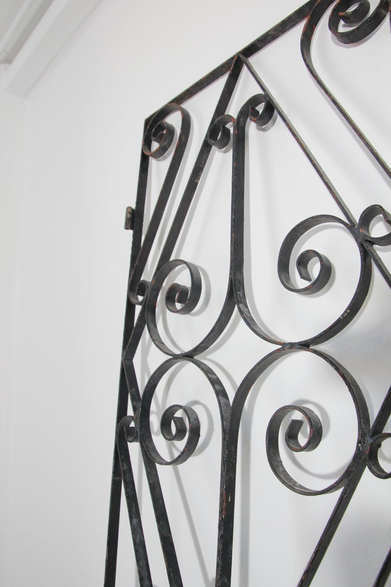 Set of Antique French Wrought Iron Garden Doors For Sale 14
