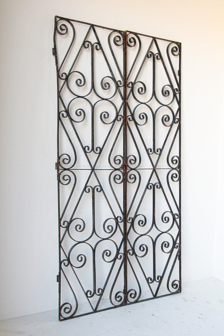 Art Deco Set of Antique French Wrought Iron Garden Doors For Sale