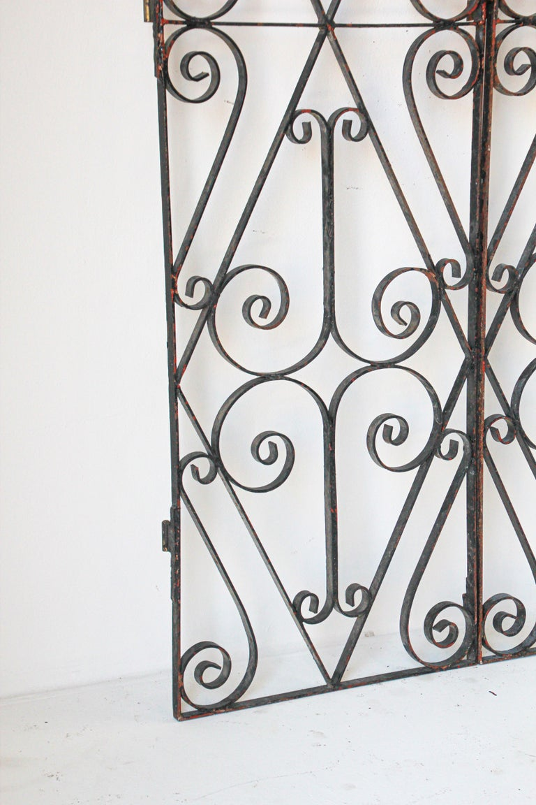 Hand-Crafted Set of Antique French Wrought Iron Garden Doors For Sale