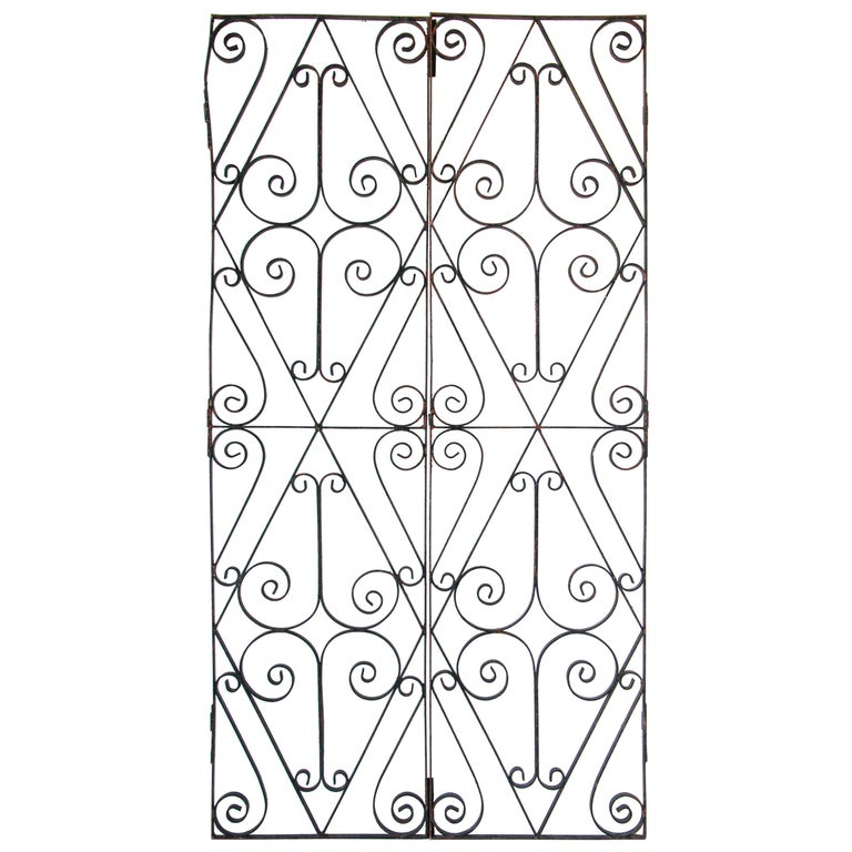 Set of Antique French Wrought Iron Garden Doors For Sale