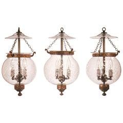 Set of Antique Globe Bell Jar Lanterns with Vine Etching