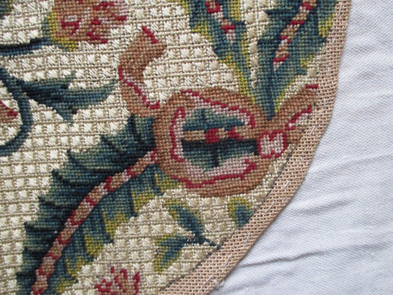 Set of Antique Gold and Green Floral Tapestry Chair Covers In Good Condition For Sale In Wilton Manors, FL