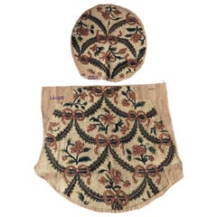 Set of Antique Gold and Green Floral Tapestry Chair Covers