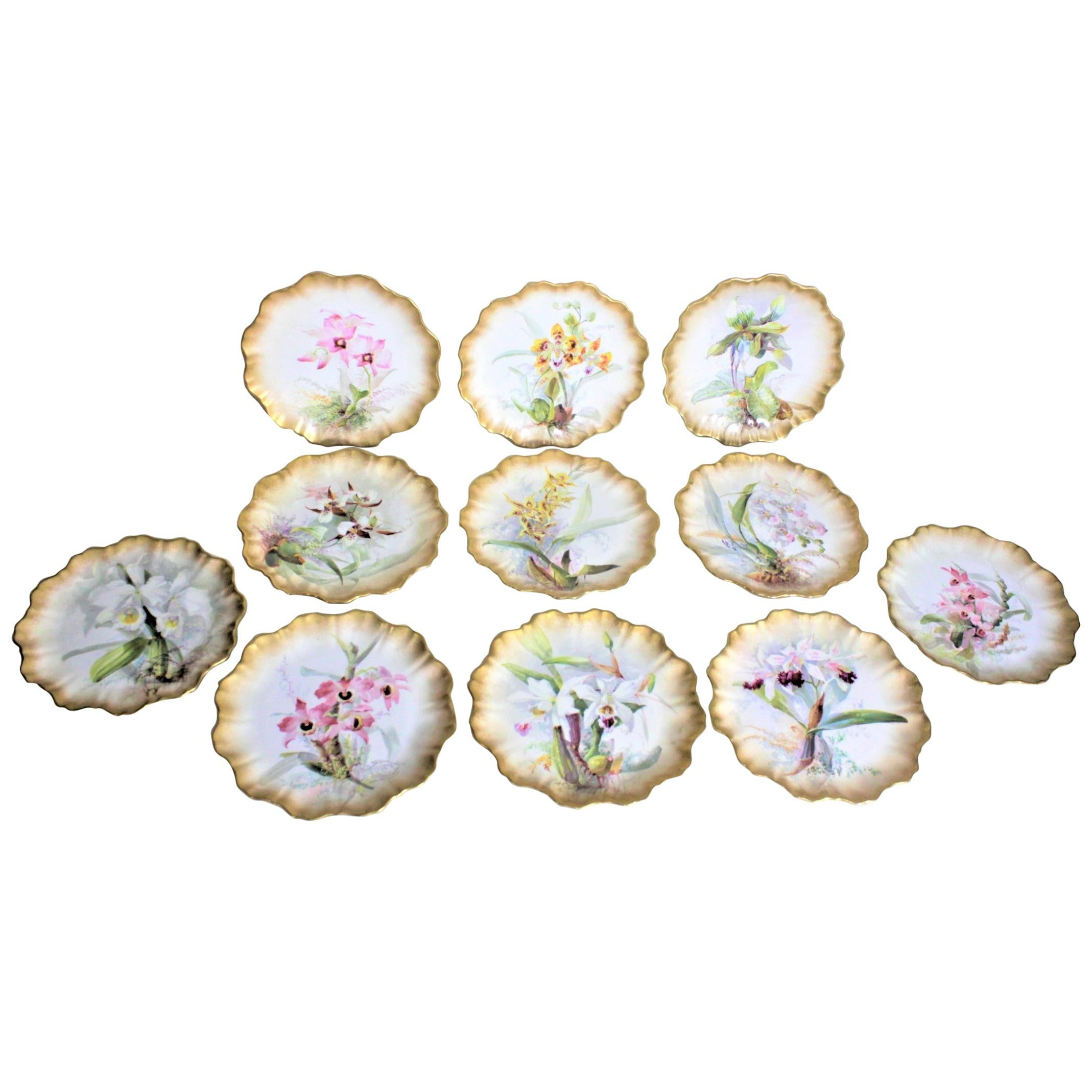 Set of Antique Hand Painted D. Dewsberry Iris Cabinet Plates for Doulton Burslem