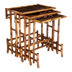 Set of Antique Japanese Bamboo and Lacquer Nesting Tables