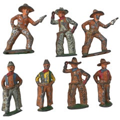 Sold-Set of Antique Lead Toy Cowboys, circa 1950