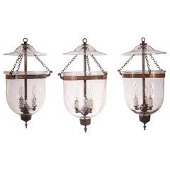 Set of Antique Petite Bell Jar Lanterns with Grape Etching