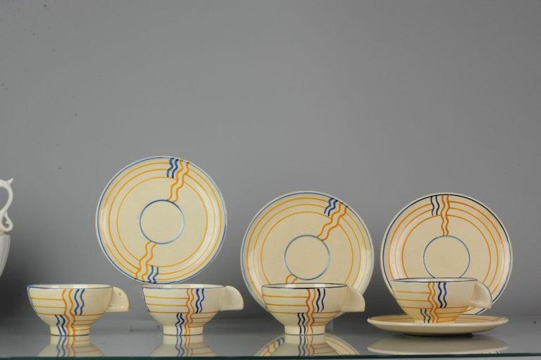 German Set of Antique / Vintage Art Deco Ceramic Tea Cup Vases, 1920-1930, Schramberg For Sale