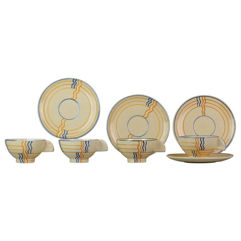 Set of Antique / Vintage Art Deco Ceramic Tea Cup Vases, 1920-1930, Schramberg For Sale