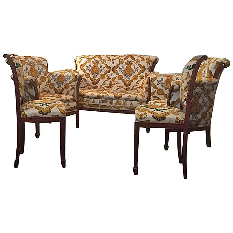 Set of Armchairs, Sofa and Chairs French 1930, covered ...