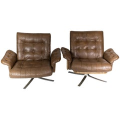 Set of Armchairs Upholstered with Brown Leather of Danish Design, 1970s