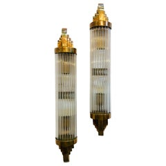 Set of Art Deco Bronze and Glass Rod Sconces, Sold in Pairs