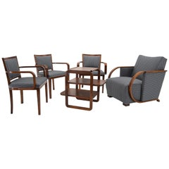 Set of Art Deco Chairs and Armchair, by Tatra Pravenec, Czechoslovakia, 1930s