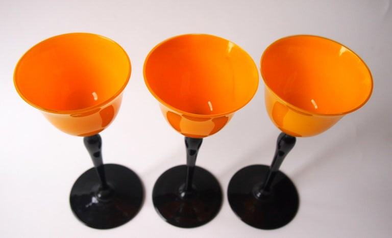Art Glass Set of Bohemian Art Deco Orange and Black 'Tango' Glasses by Harrach For Sale