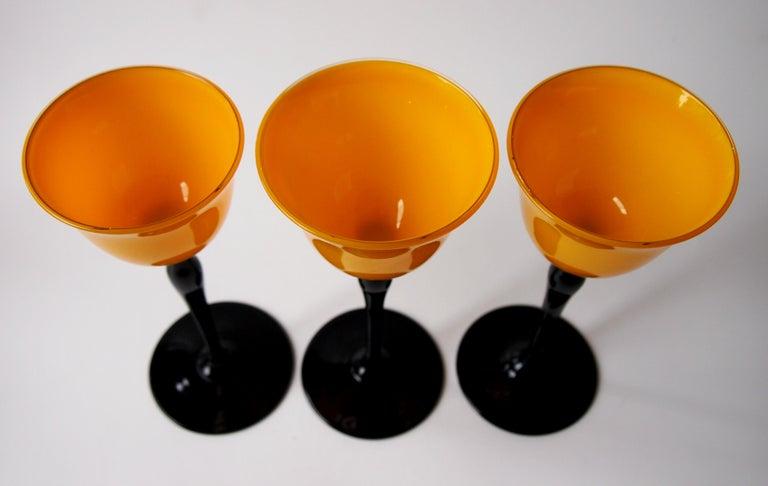 Set of Bohemian Art Deco Orange and Black 'Tango' Glasses by Harrach For Sale 2