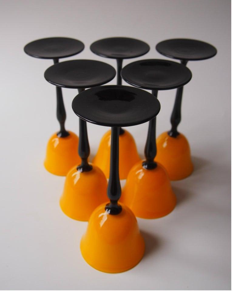 Set of Bohemian Art Deco Orange and Black 'Tango' Glasses by Harrach For Sale 3