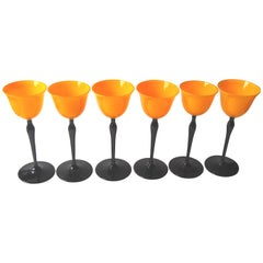 Set of Bohemian Art Deco Orange and Black 'Tango' Glasses by Harrach