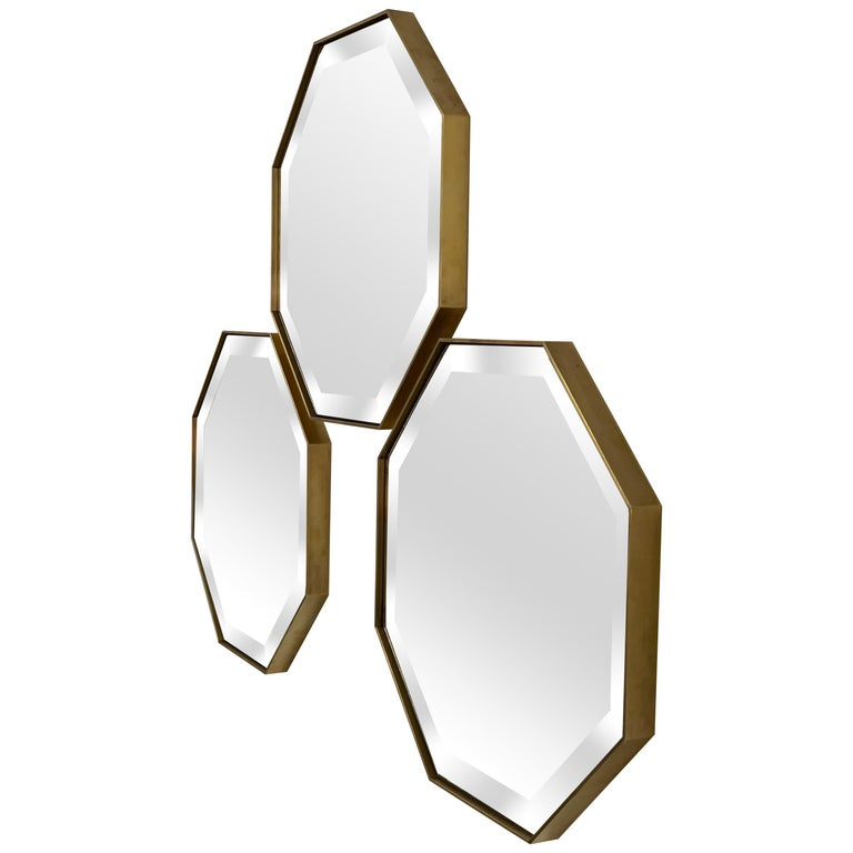 Set of Art Deco Style Eros Octagonal Brass Mirrors Antique Mirror & Bevel Detail For Sale
