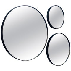 Set of Art Deco Style Eros Round Mirror with White Gold Mirror Black