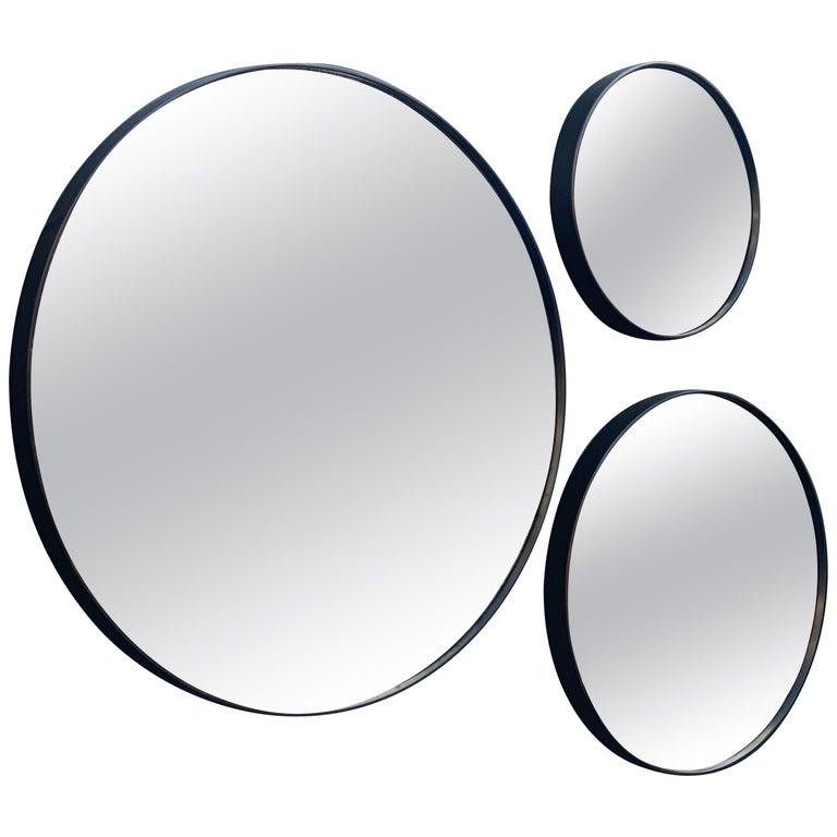 Set of Art Deco Style Eros Round Mirror with White Gold Mirror Black For Sale