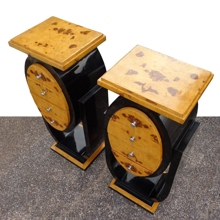 Asian Set of Art Deco Style Nightstands Side Tables For Sale