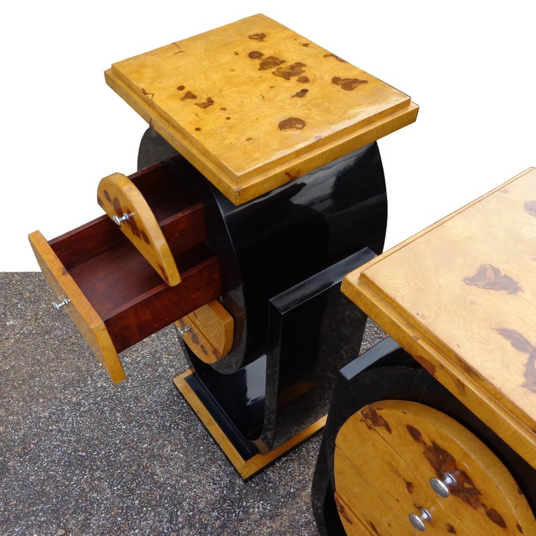 Burl Set of Art Deco Style Nightstands Side Tables For Sale
