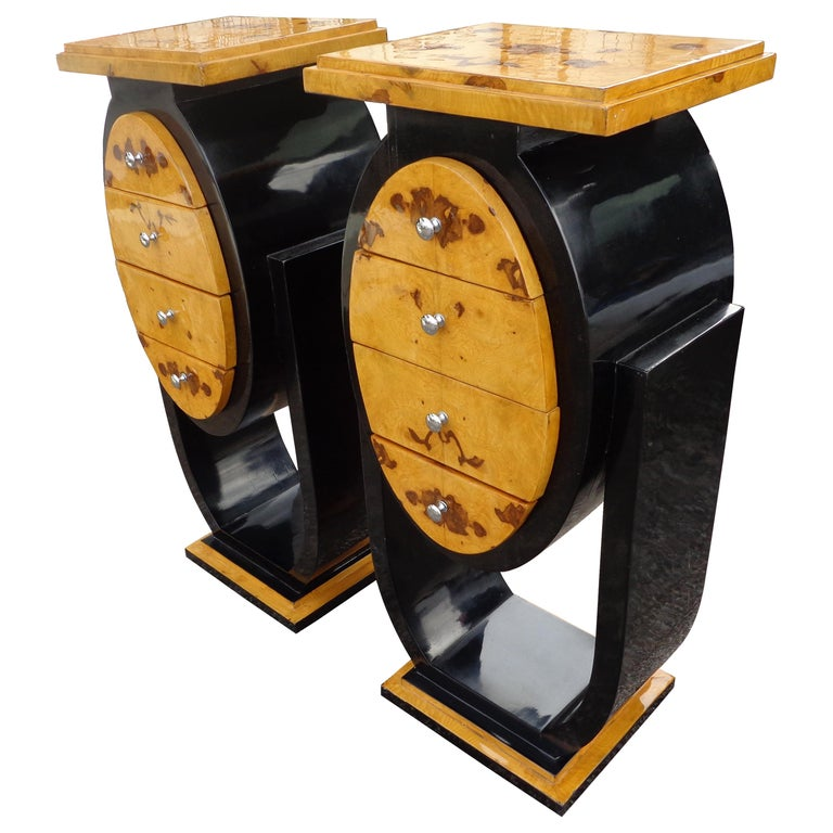 Set of Art Deco Style Nightstands Side Tables For Sale