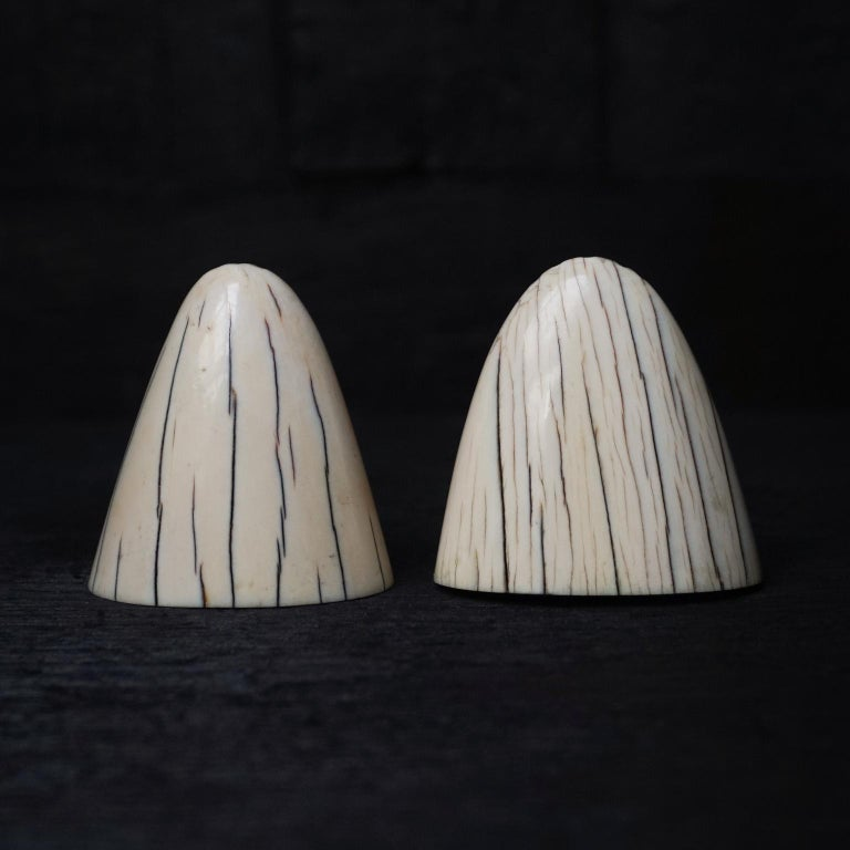 This unique salts and pepper shaker set is made from the tips of walrus tusks. Look at this pretty powerful line pattern. This very elegant Art Deco shaker set would look great completing a condiment set on any dining table.  Finished with a