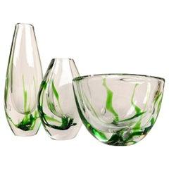 Set of Art Vases and Bowl Kosta Vicke Lindstrand, 1950s, Sweden