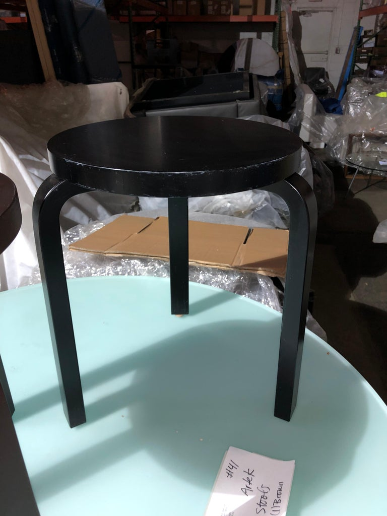 Set of Artek 60 Brown, Black, Gray and White Stools For Sale 4