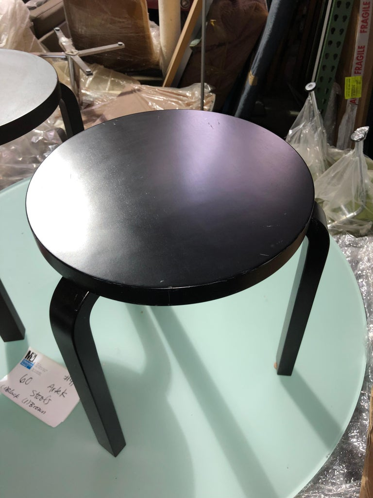 Set of Artek 60 Brown, Black, Gray and White Stools In Good Condition For Sale In New York, NY