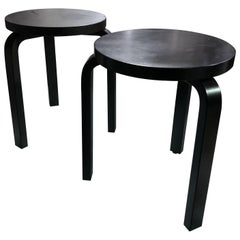 Set of Artek 60 Brown, Black, Gray and White Stools