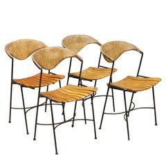 Set of Arthur Umanoff Iron Rope Porch Chairs Vintage Midcentury Tiki Mad Men McM