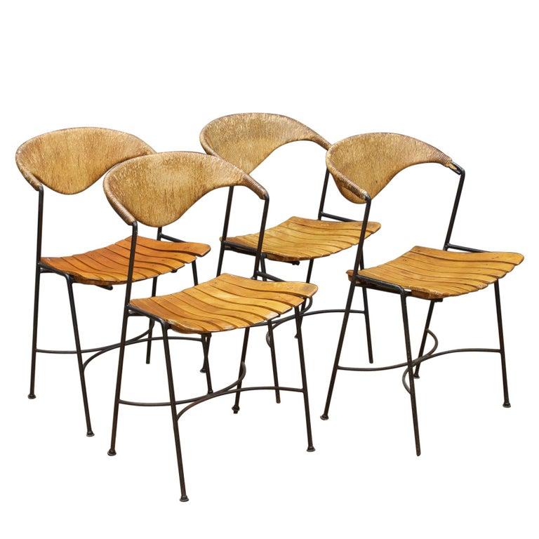 Set Of Arthur Umanoff Iron Rope Porch Chairs Vintage Midcentury Tiki Mad Men Mcm At 1stdibs